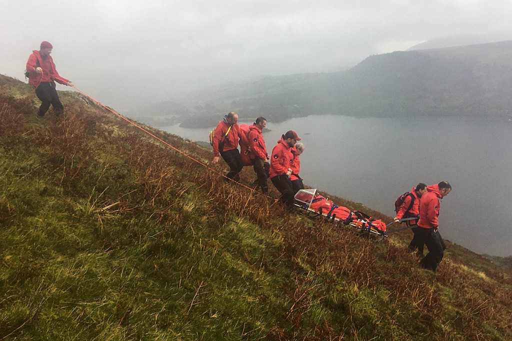 The injured walker is stretchered from Cat Bells. Photo: Keswick MRT
