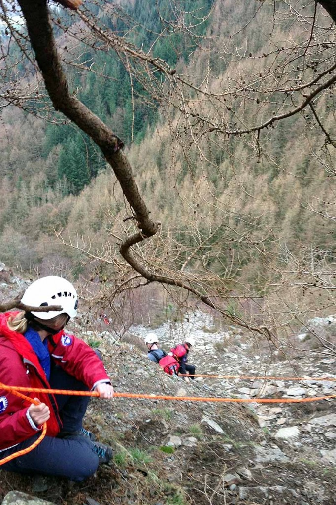 Rescuers rigged up ropes to bring the pair to safety. Photo: Keswick MRT