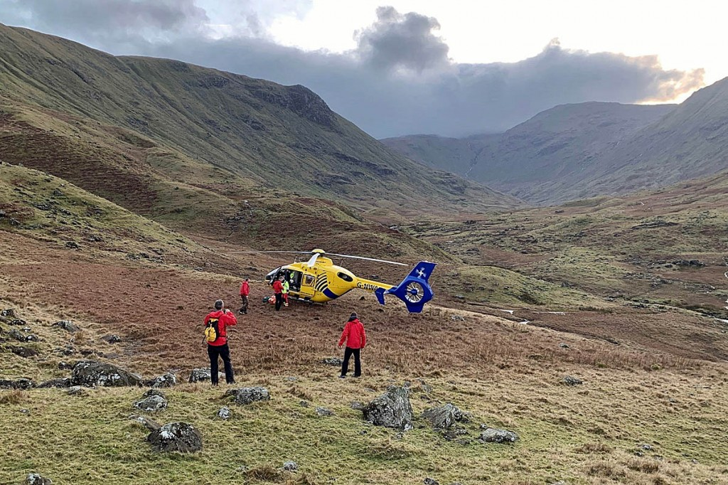 The helicopter landed close to the site of the man's slip. Photo: Keswick MRT