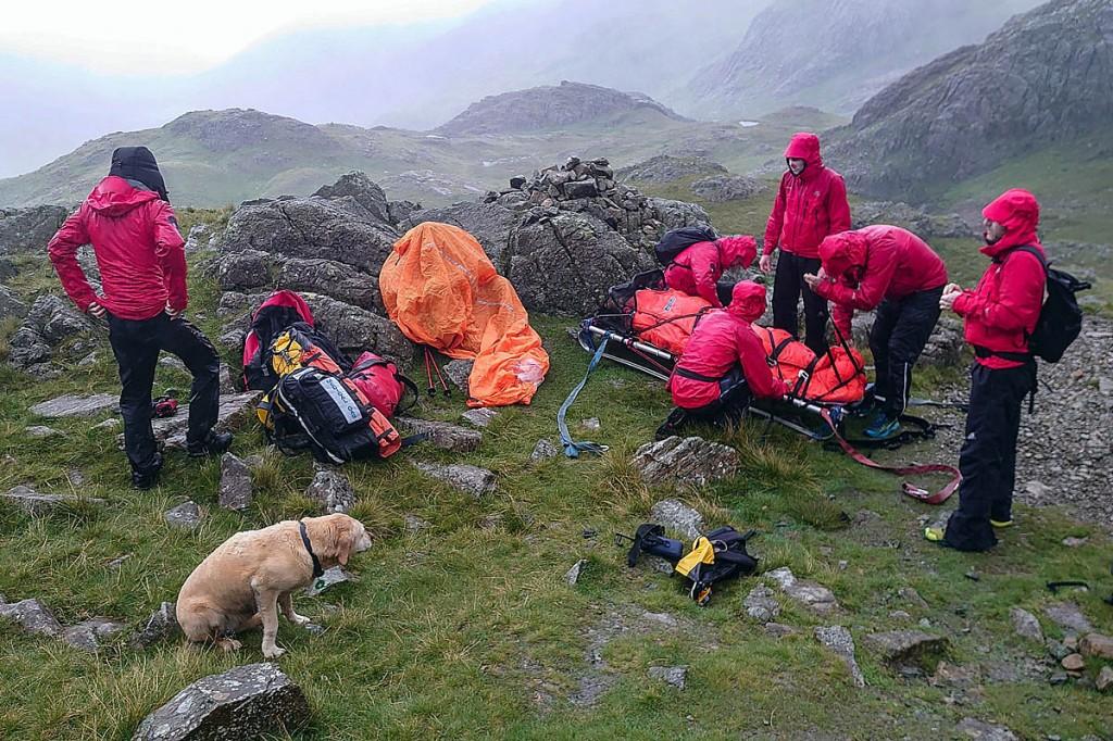 The rescue scene on Lingmell Col. Photo: Keswick MRT