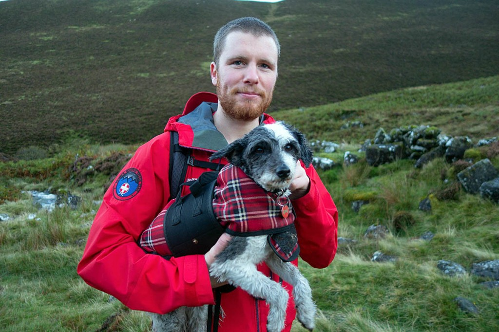 The reluctant four-legged walker with a team member. Photo: Keswick MRT