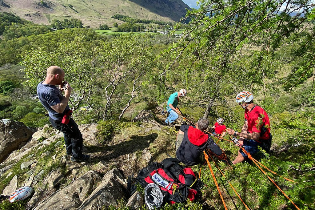 Rescuers at the scene of the incident at Quayfoot Buttress. Photo: Keswick MRT