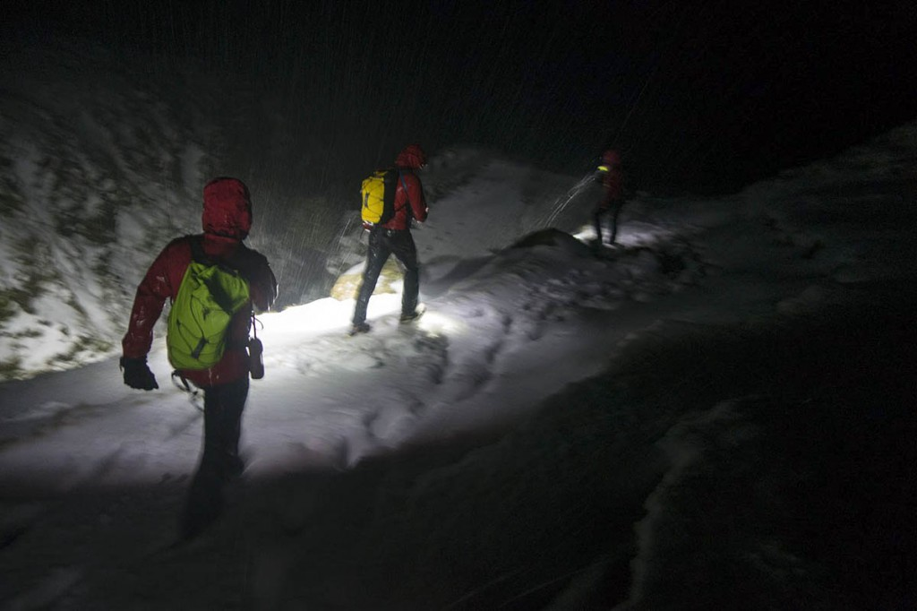 Rescue team volunteers had to contend with winter condtions during the operation. Photo: Keswick MRT