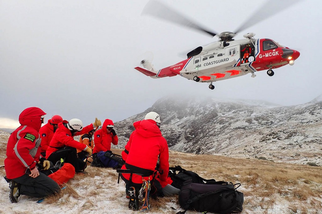 The Coastguard helicopter with rescuers during the search. Photo: Keswick MRT