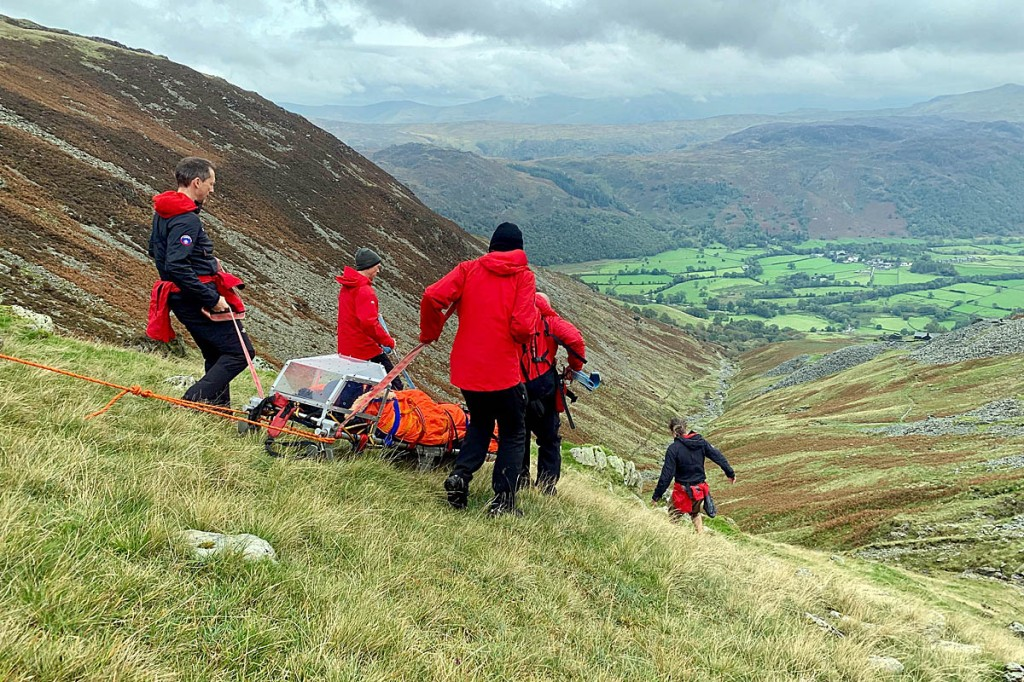 A walker was stretchered from a Lake District fell after injuring her ankle.  Keswick Mountain Rescue Team was called out about 1.15pm on Saturday to the incident at the top of the path leading from the High Spy ridge to Rosthwaite through the old Rigghead Quarries