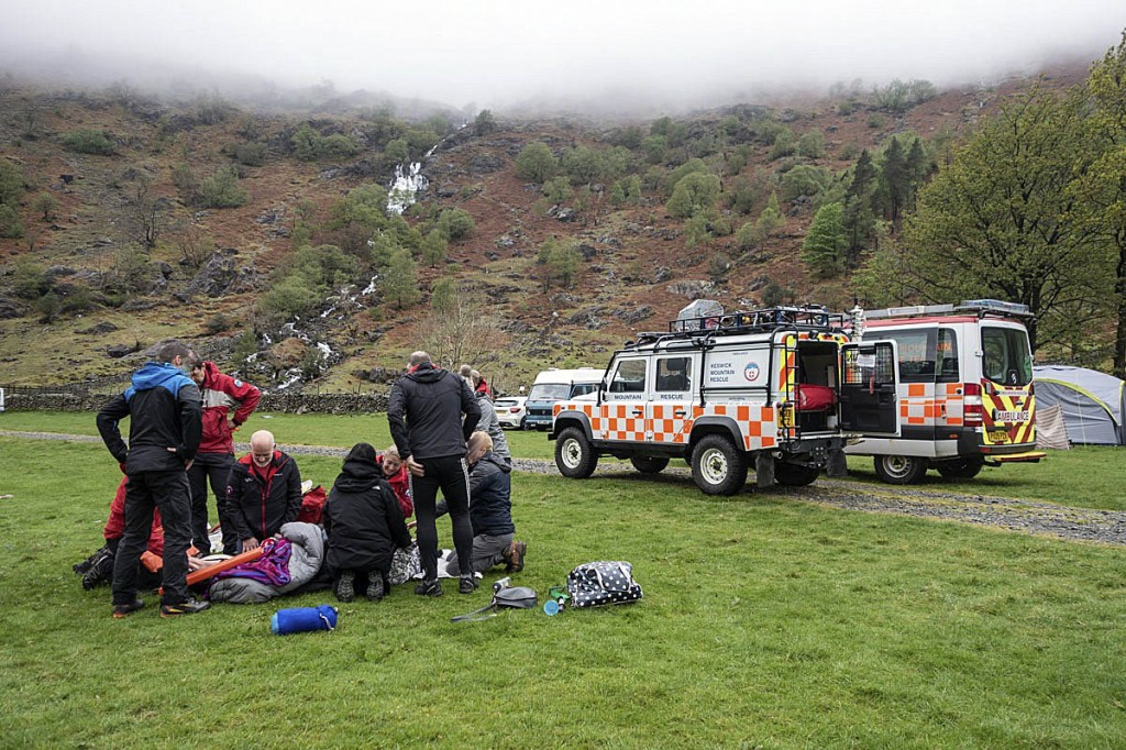 The rescue scene at Seathwaite campsite. Photo: Keswick MRT
