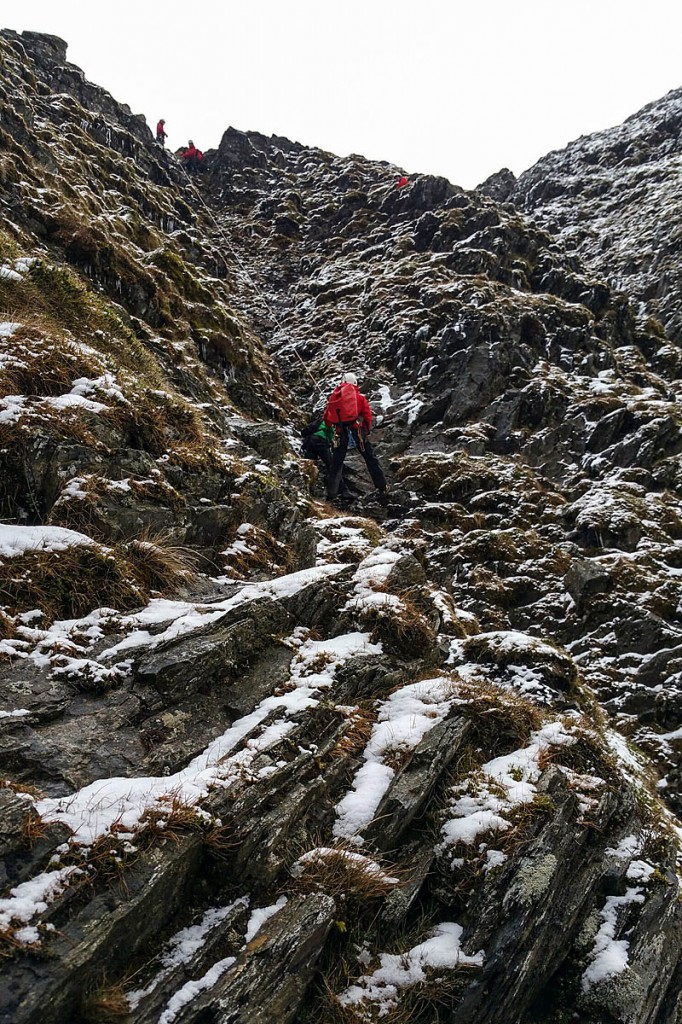 Rescuers rigged a rope system in the gully to help the couple to safety. Photo: Keswick MRT