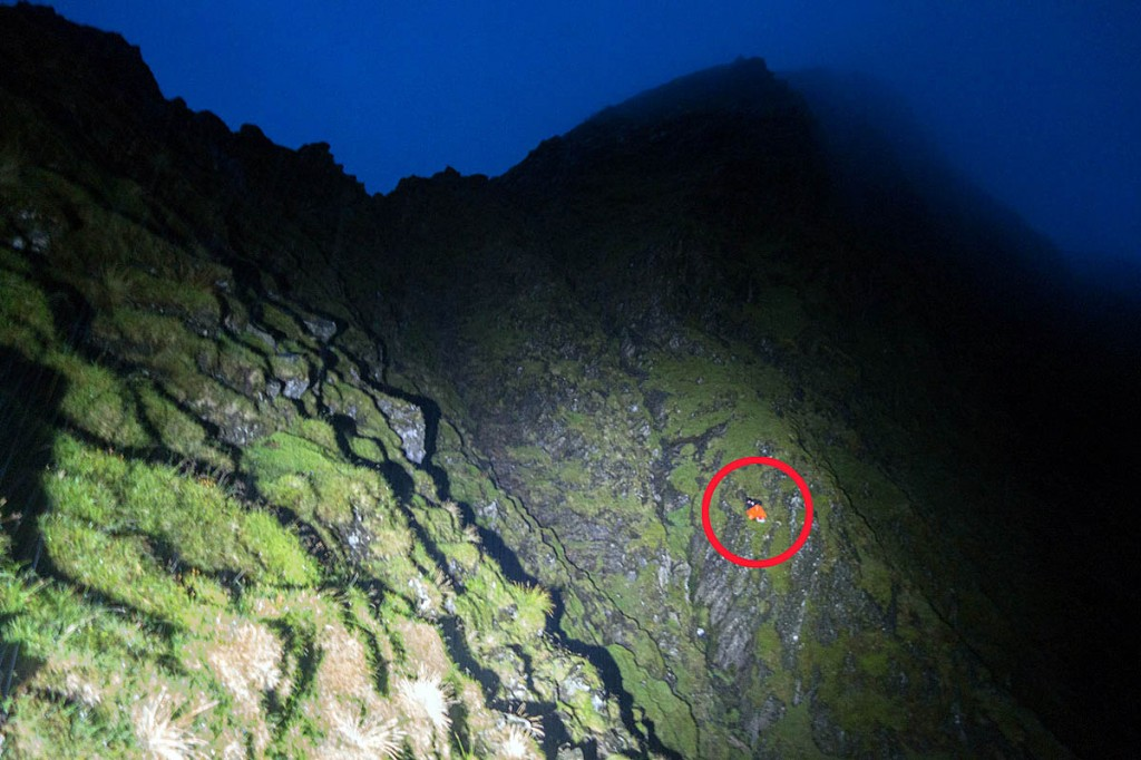 The position of the cragfast walker, circled, below Sharp Edge. Photo: Keswick MRT
