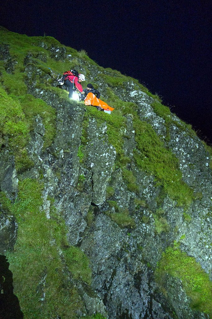 A rescue team member at the precarious site on the slopes of Sharp Edge. Photo: Keswick MRT
