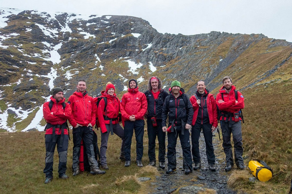 Rescuers at Scales Tarn, with Sharp Edge in the distance. Photo: Keswick MRT