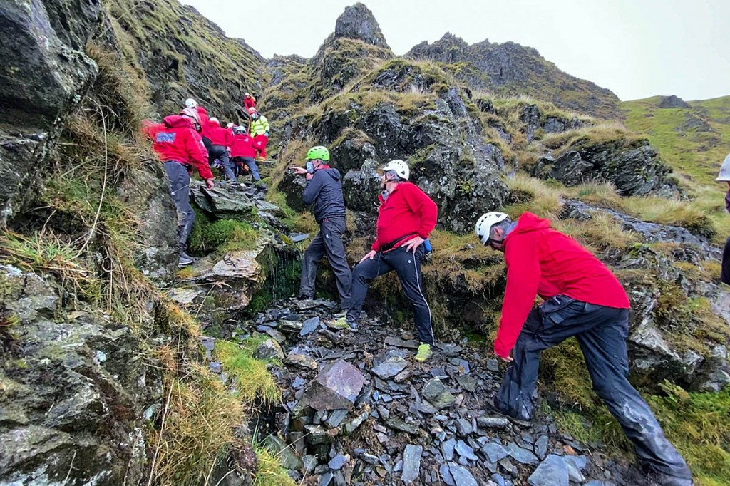 Rescuers at the scene in the gully on Sharp Edge. Photo: Keswick MRT