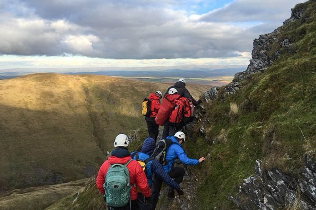 The rescue scene below Sharp Edge. Photo: Keswick MRT