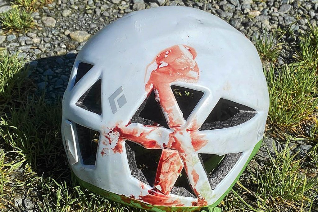The climber's helmet after the fall. Photo: Keswick MRT