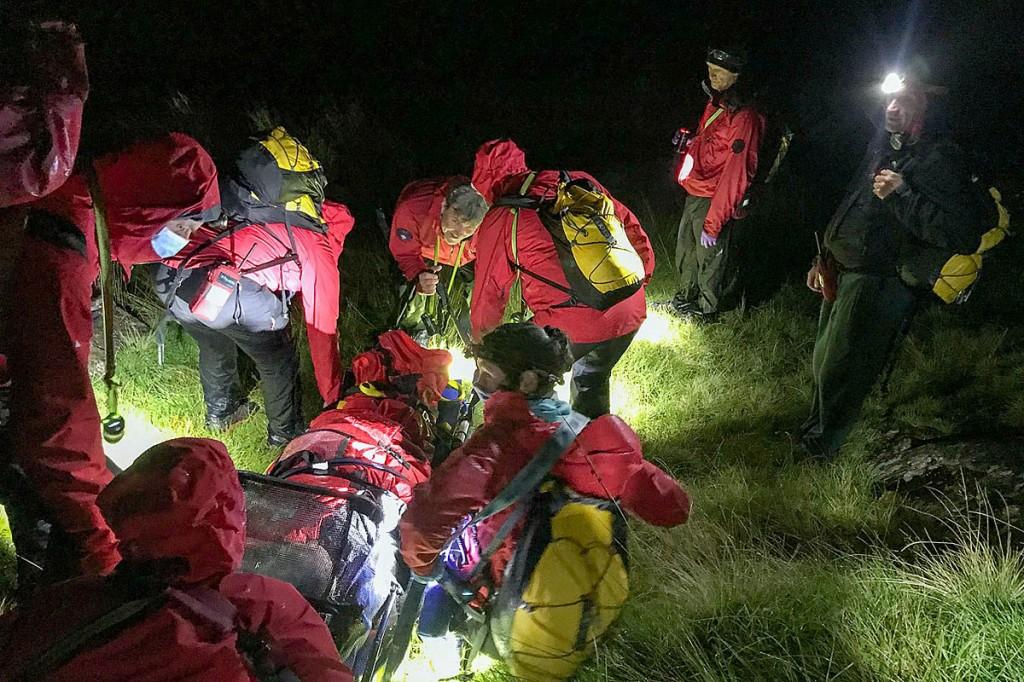 Rescuers at the scene near Sty Head. Photo: Keswick MRT