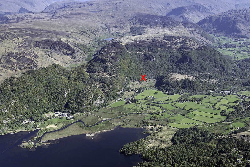X marks the spot where the walker was found in Troutdale. Photo: Keswick MRT