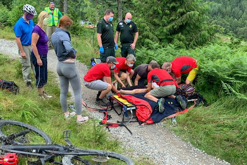 The rescue scene in Whinlatter Forest. Photo: Keswick MRT