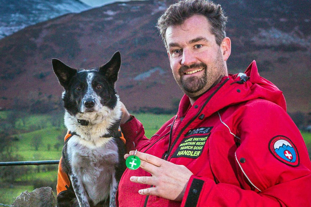 Search dog Rona with handler Rob Grange. Photo: Keswick MRT