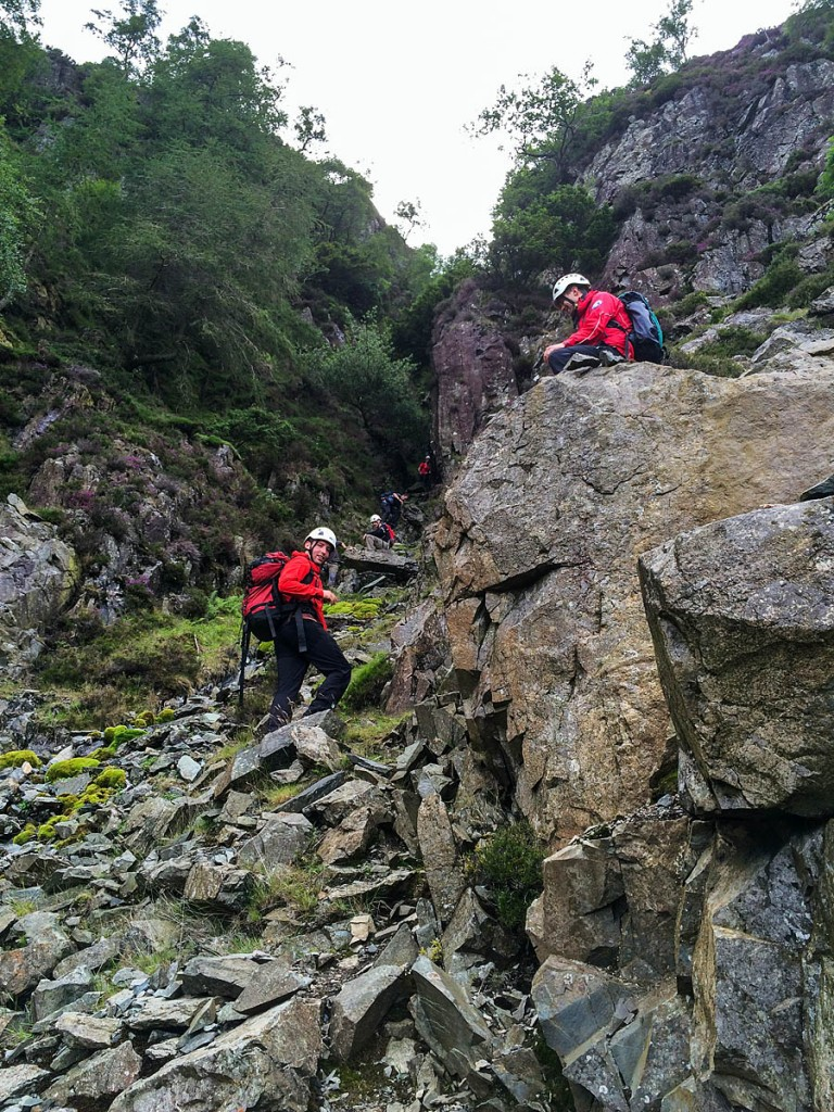 Keswick team members in the gully during the Wednesday rescue near Goat Crag. Photo: Keswick MRT