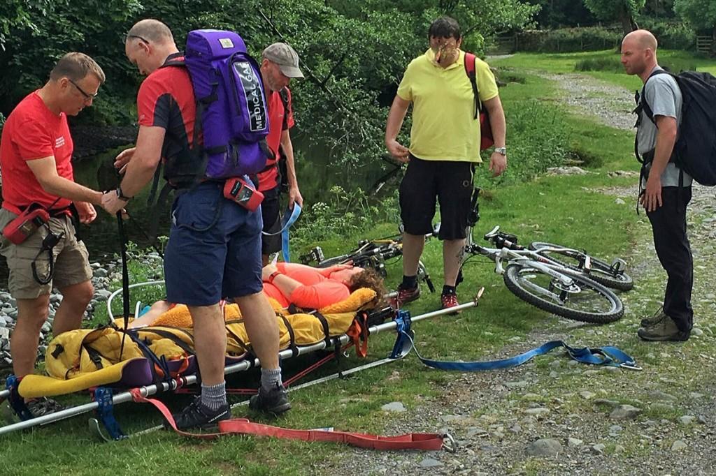 Rescuers at the scene near New Bridge, Rosthwaite. Photo: Keswick MRT