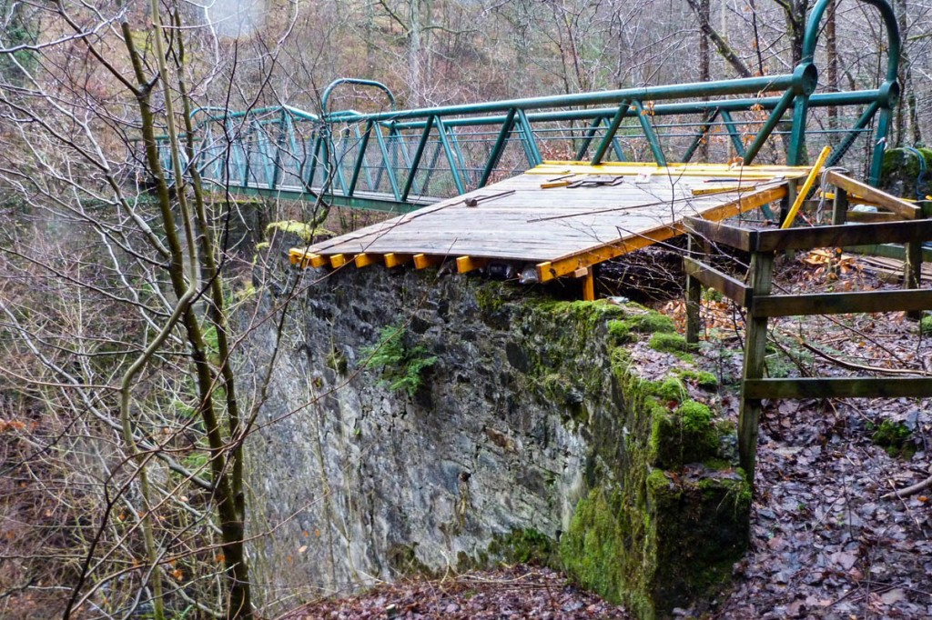 The Green Footbridge at Killiecrankie, showing the temporary wooden cover. Photo: NTS