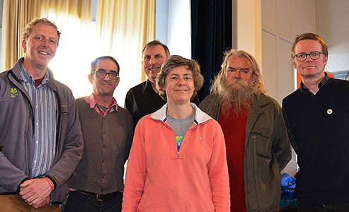 Kate Asbrook with, from left, Jon Stewart, Phil Moody, Keith Warrender, Terry Howard and Boff Whalley. Photo: Keith Warrender