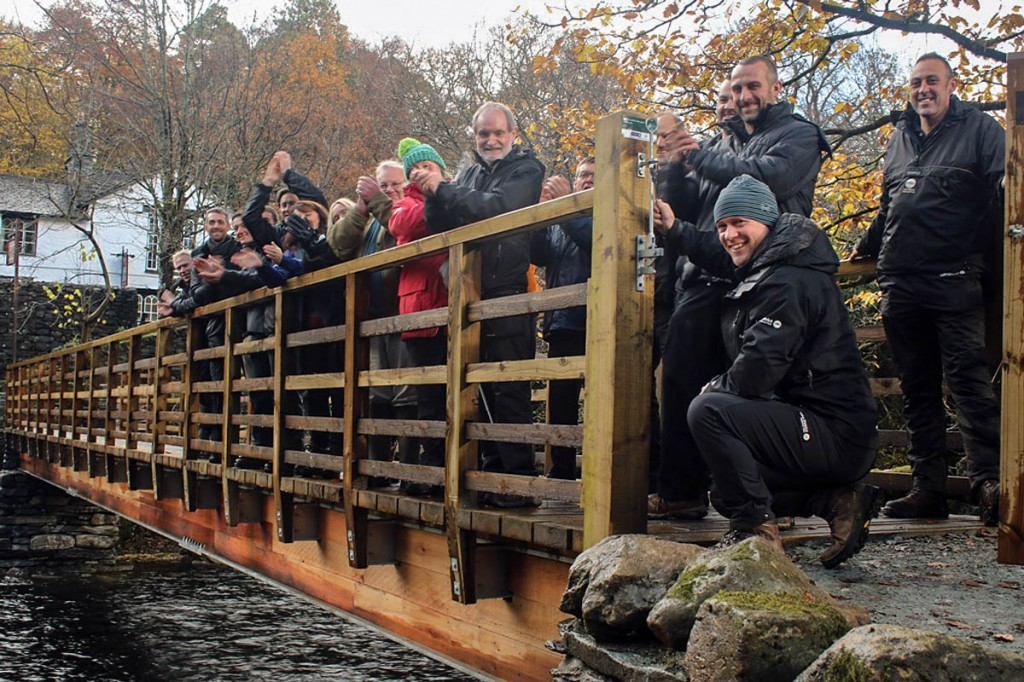 Celebrations for the £3m grant on Dipper Bridge at Rydal. Photo: Lake District NPA