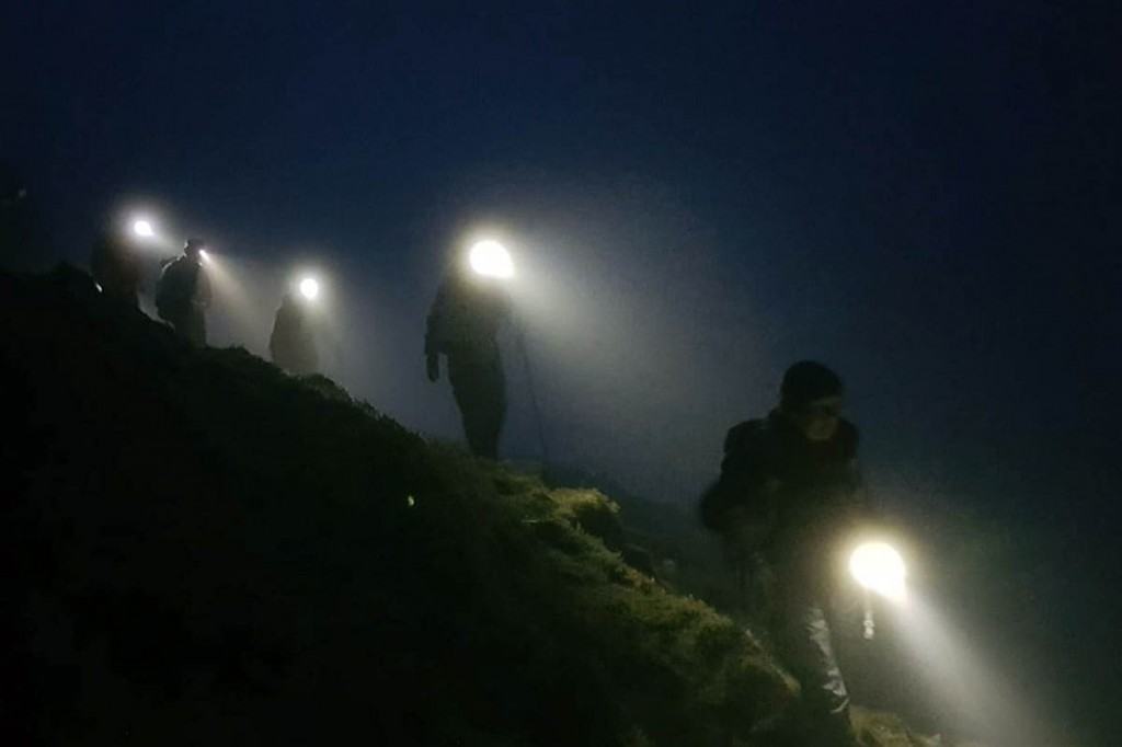 Lake District rescue team members during a night-time callout