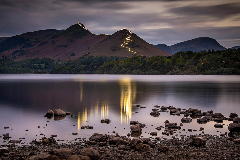The Cat Bells lights reflected in Derwent Water. Photo: Tom McNally