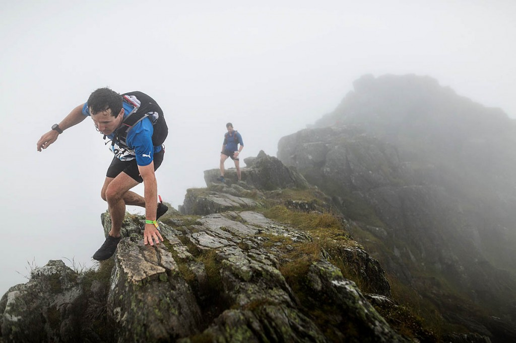 Runners traverse Striding Edge during the race. Photo: Guillem Casanova/guillemcasanova.com