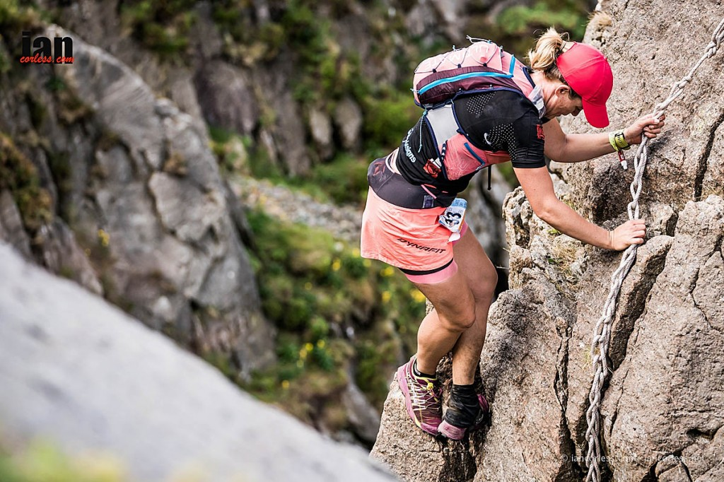 Sophie Grant uses the ropes on Pinnacle Ridge. Photo: Ian Corless