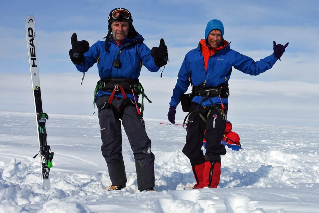 Leo Houlding and Bruce Corrie, right, celebrate a successful day snowkiting