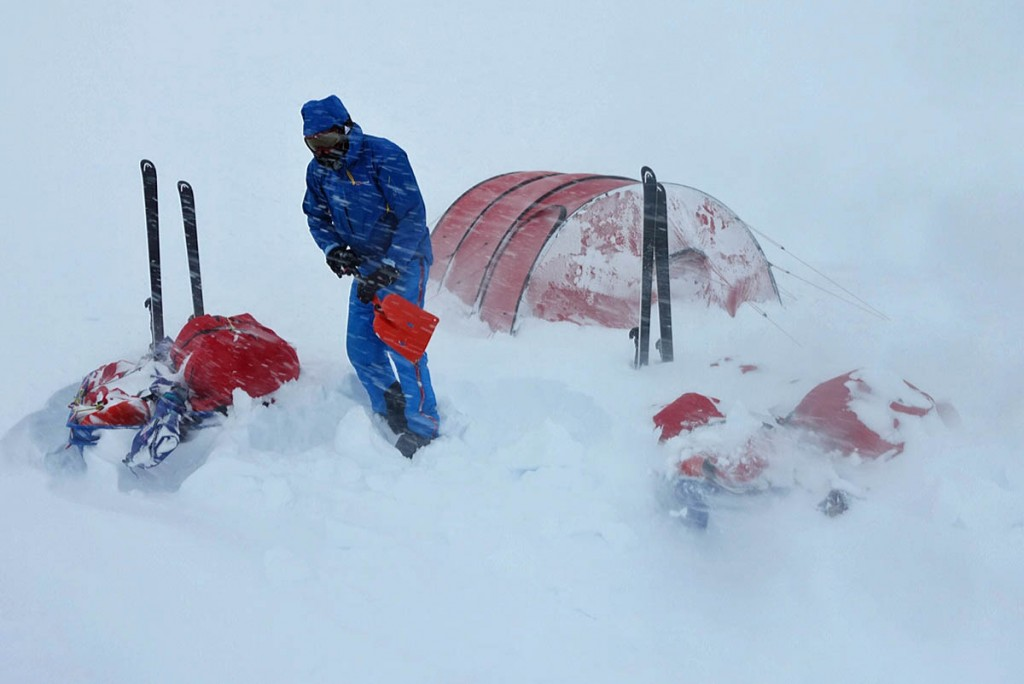 Houlding camping in whiteout conditions