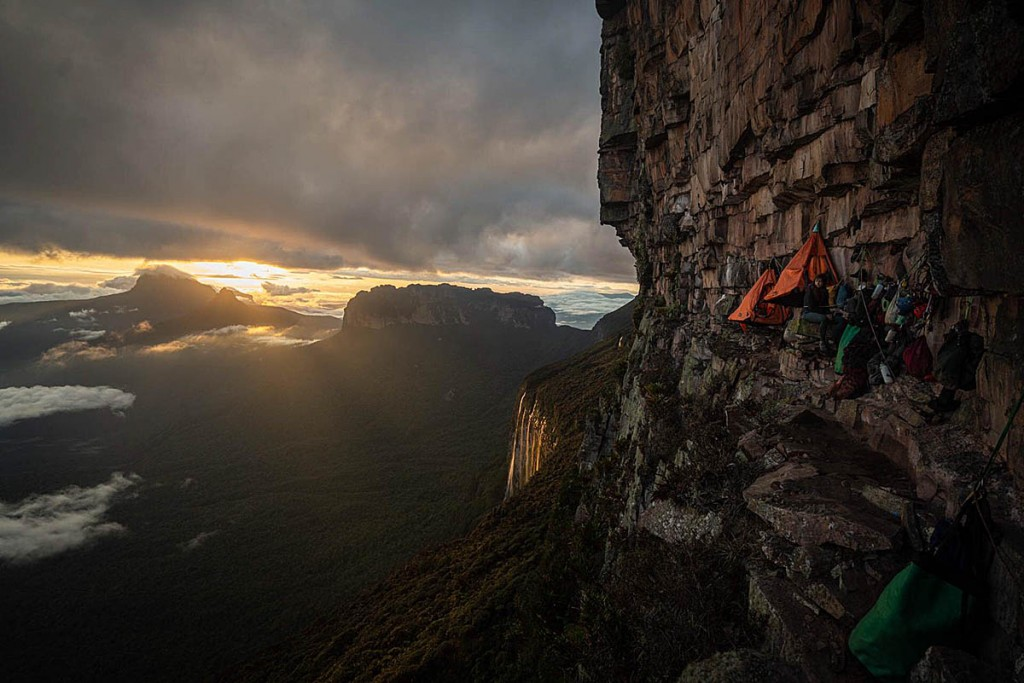 Dawn breaks on the team's lower ledge camp. Photo: Coldhouse Collective/Berghaus