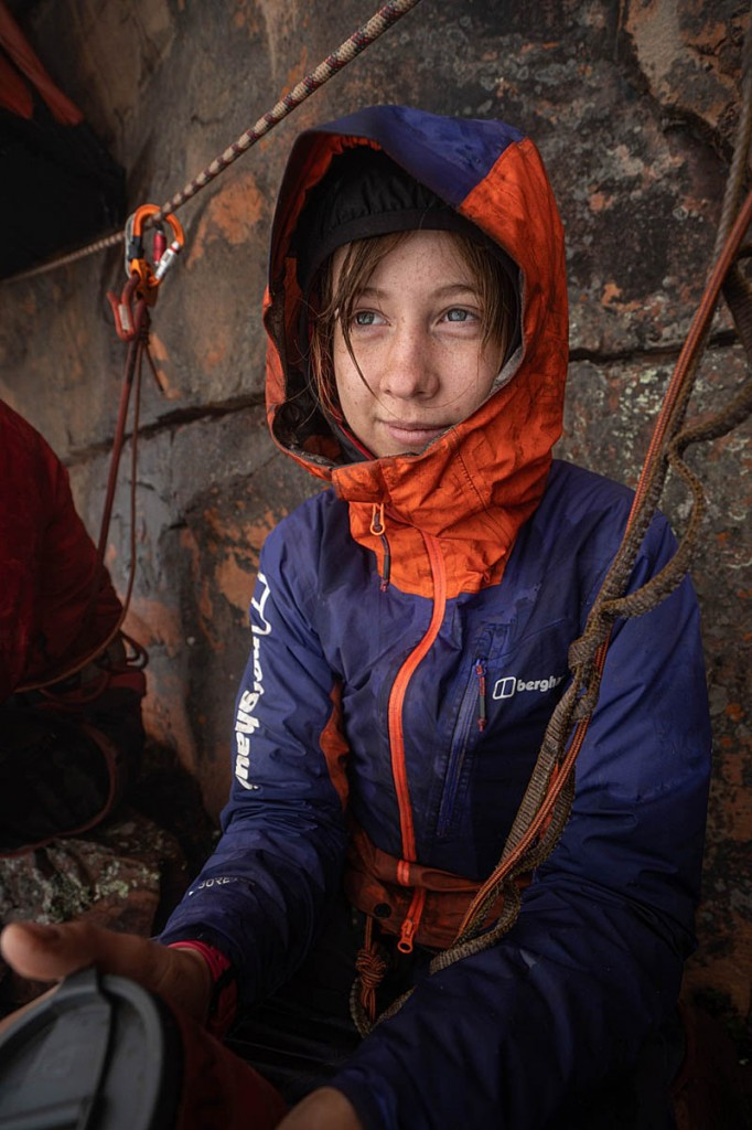 Anna Taylor surveys the weather while waiting for her next pitch. Photo: Coldhouse Collective/Berghaus