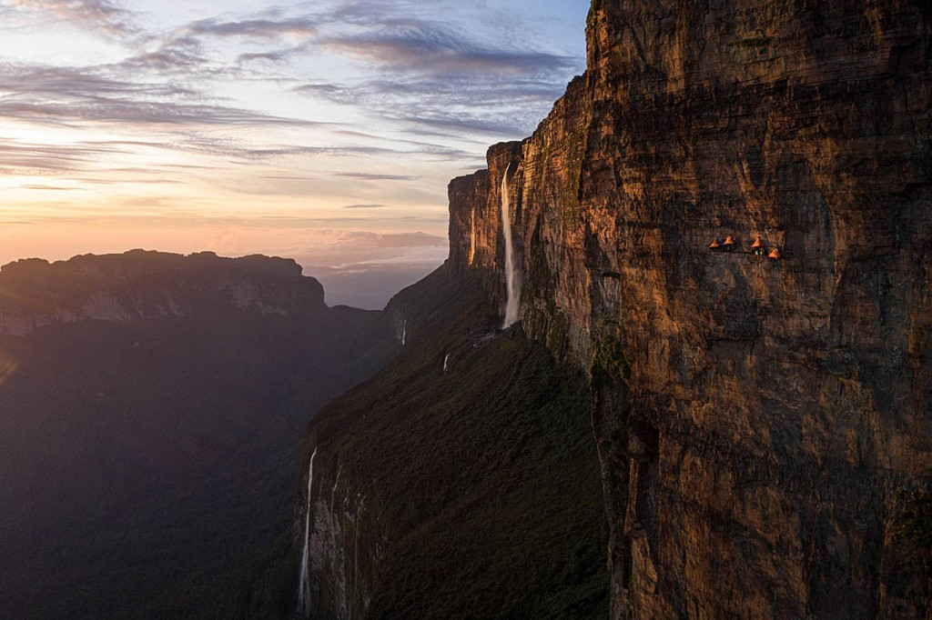 Leo HouldinThe climbers camping on Invisible Ledge on the big wall of the tepui. Photo: Coldhouse Collective/Berghausg Roraima The hanging camp at Invisible Ledge, tiny in the context of the mountain - photo Coldhouse Collective & Berghaus 1200