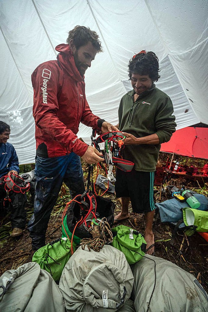 Waldo Etherington provides a ropework lesson at basecamp. Photo: Coldhouse Collective/Berghaus