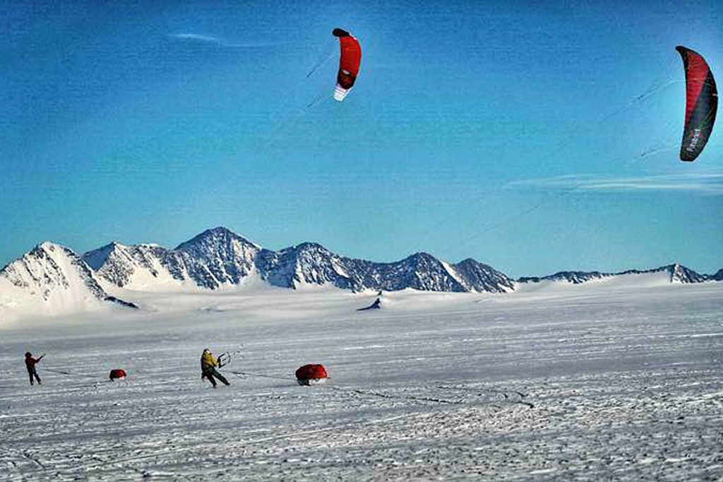 Team members ski-kiting on the final day of the expedition. Photo: Berghaus