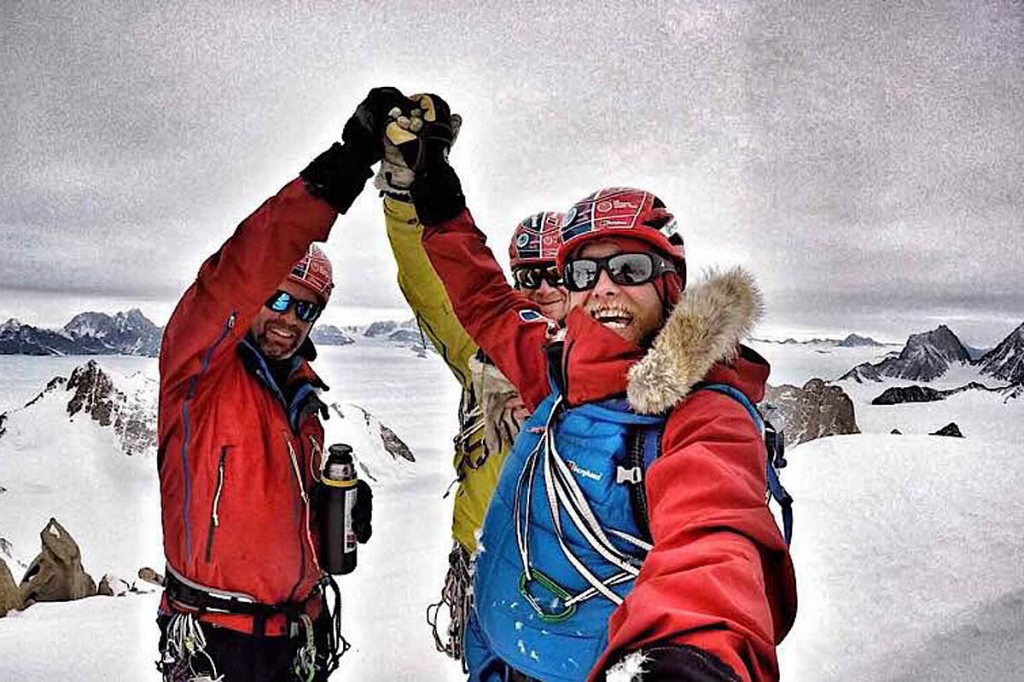 Houlding, right, with Sedon, left and Burgun on the Spectre's summit