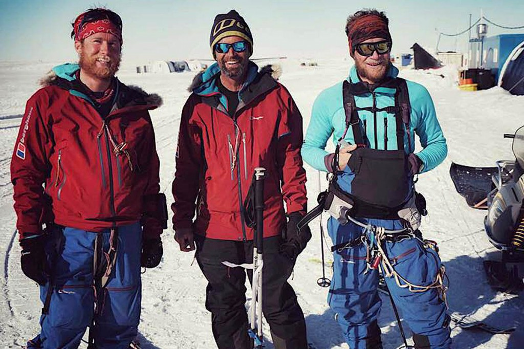 Expedition members at their final destination at Union Glacier: from left, Leo Houlding, Mark Sedon and Jean Burgun. Photo: Berghaus
