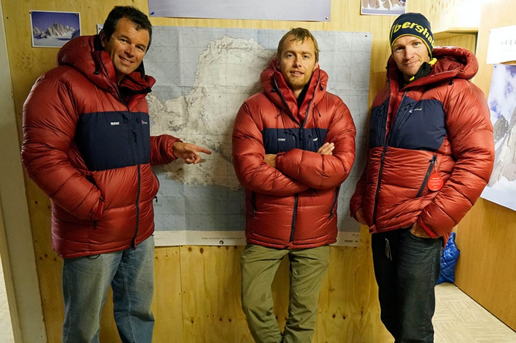 Leo Houlding, centre, with Marc Sedon, left, and Jean Burgun. Photo: Berghaus