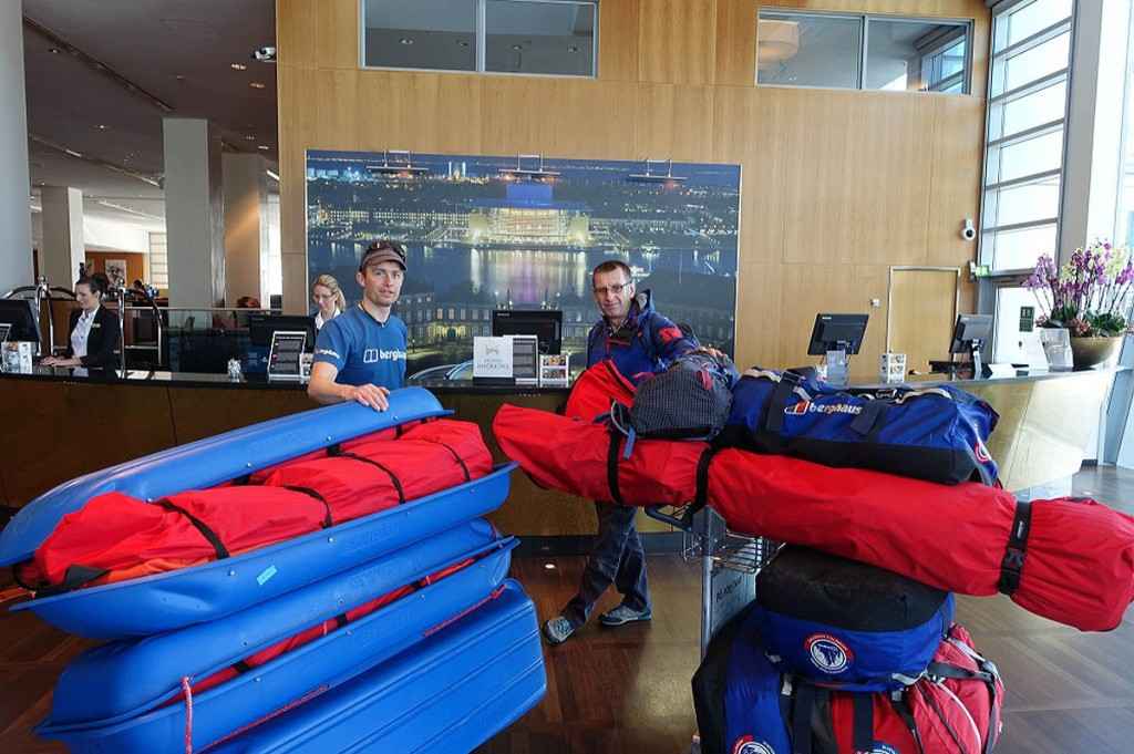 Leo Houlding and Bruce Corrie check in with their kit at the airport