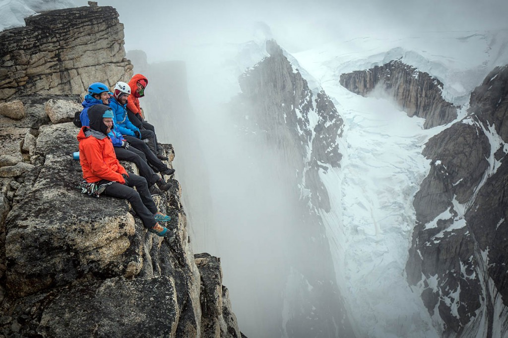 Leo and the team on the summit of the Mirror Wall. Photo: Matt Pycroft/Coldhouse Collective/Berghaus