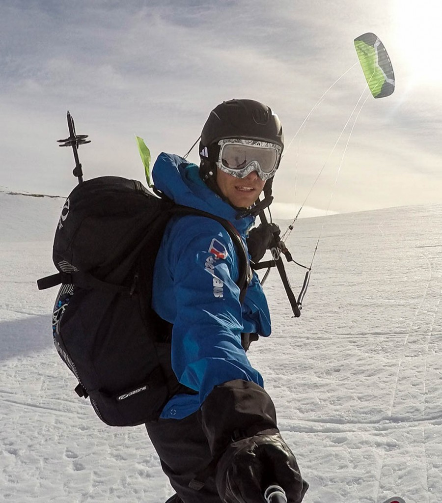 Leo Houlding is a relative novice at snowkiting