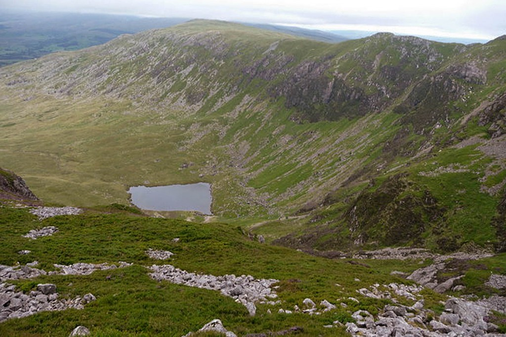 The walkers descended towards Llyn Arran from Mynydd Moel. Photo: Jeremy Bolwell CC-BY-SA-2.0