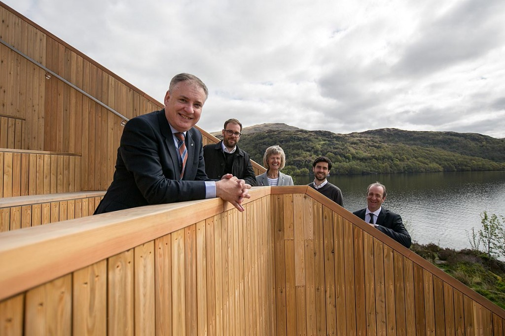Richard Lochhead is joined by national park chief executive Gordon Watson, convenor Linda McKay and architects Daniel Barr and Stephane Toussaint on the pyramid. Photo: Michael McGurk