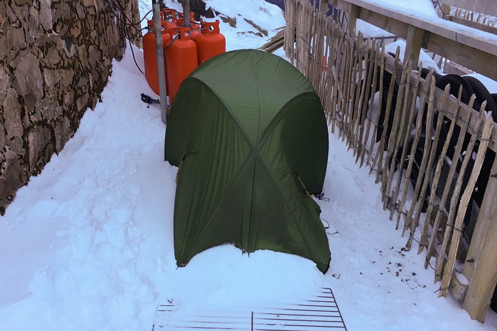 The climbers' tent was pitched directly behind the CIC Hut. Photo: Lochaber MRT