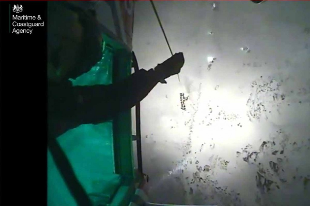 A still from the video of the rescue released by the Coastguard. Image: MCA