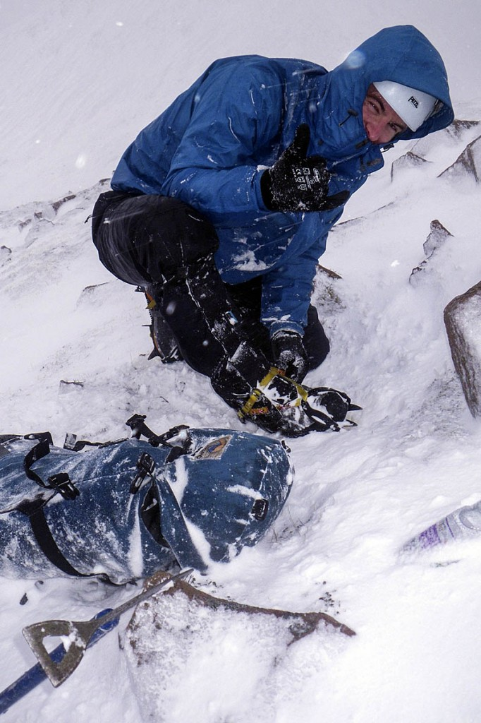 Adjusting crampons to keep a grip on the ice