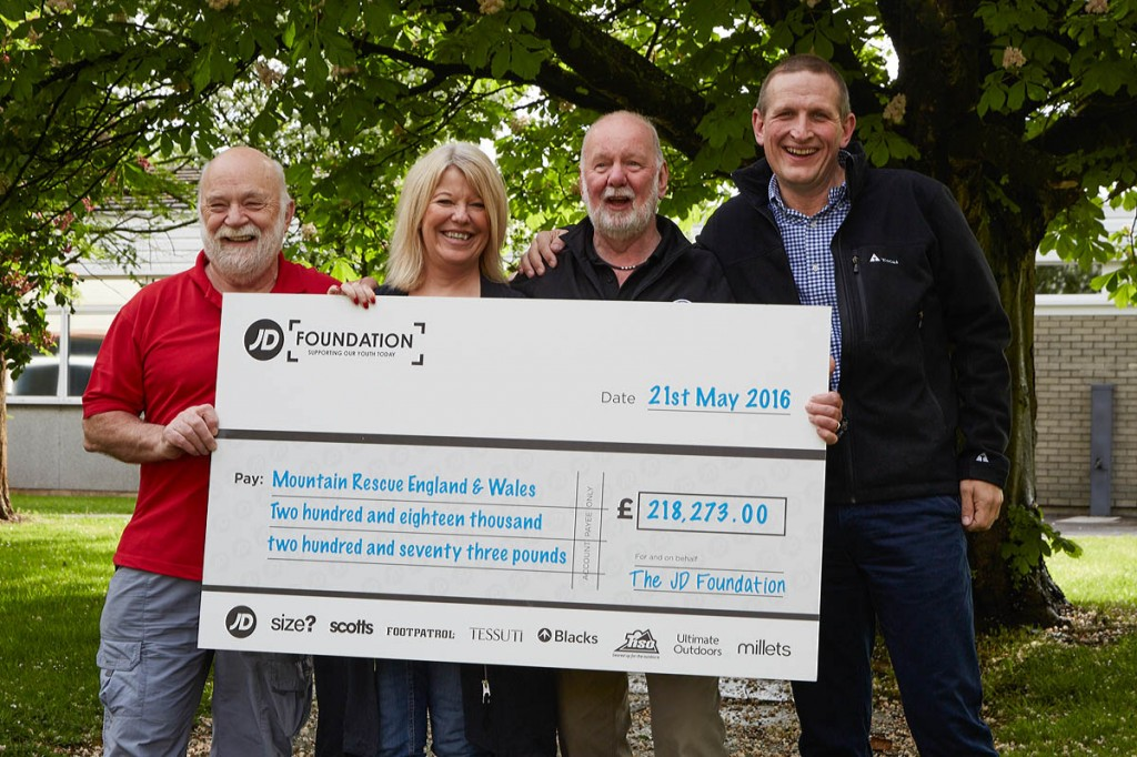From left: Bill Whitehouse, MREW fundraising officer, Traci Corrie, Mike France and Lee Bagnall, managing director of the Blacks Outdoor Group