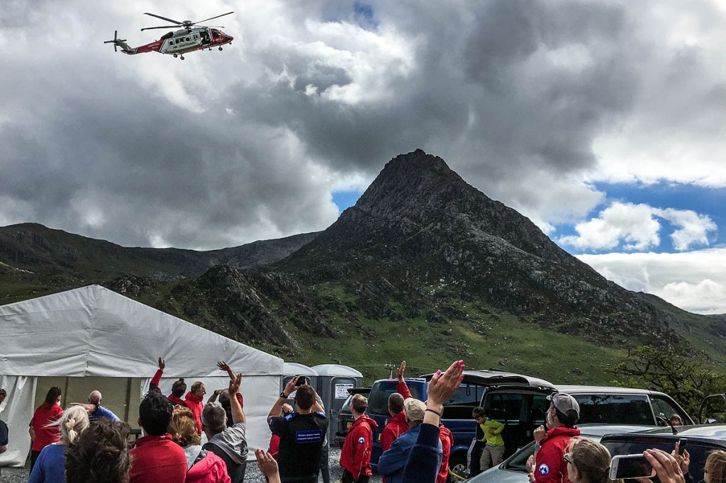 The new Coastguard helicopter at the event, with Tryfan in the distance. Photo: OVMRO